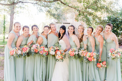 A photo of a bride and her bridesmaids before her wedding in Atlanta Georgia.