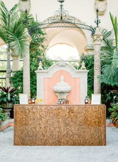 copper bar, copper bar Miami, copper bar Vizcaya, Jennifer Buono Events, Jennifer Buono, Miami Wedding Planner, Miami Wedding Designer, Palm Beach Wedding Planner,