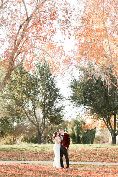 Just married couple poses for photos with fall colors