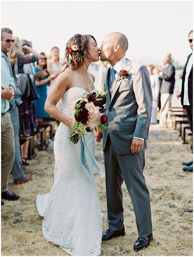 first-kiss-ceremony-destination-wedding-oregon-martha-stewart-weddings-bonnie-sen-photography
