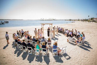 Catamaran wedding on the beach in San Diego