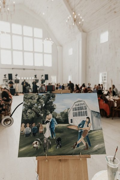 White Sparrow Barn Dallas Texas Live Wedding Painting Photographed by Madison Katlin Photography