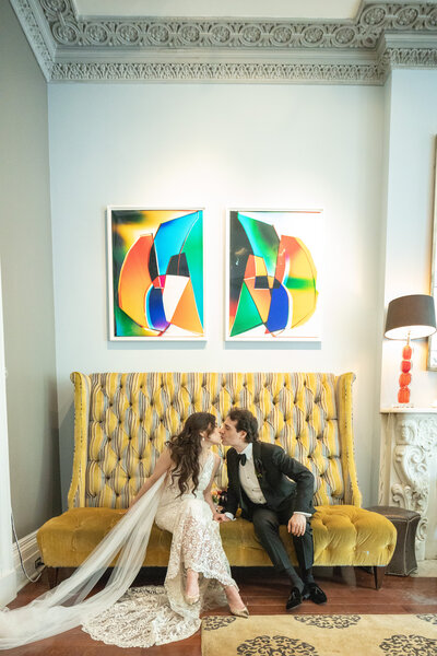 Wedding Couple Kissing at Norwood in New York