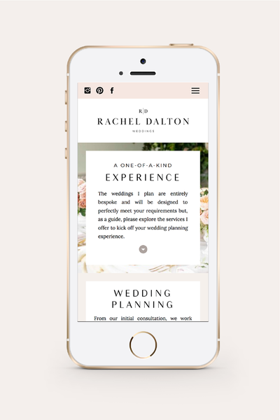 Rachel Dalton Mobile Website Design | Wedding Planner Branding
