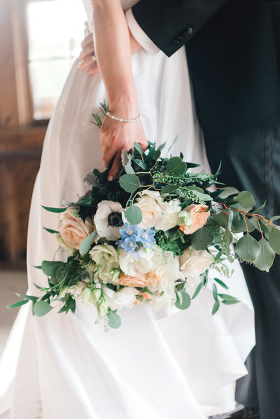 summer wedding bouquet at hudson valley wedding at glynwood, cold spring, ny