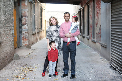 Family portrait in an urban setting