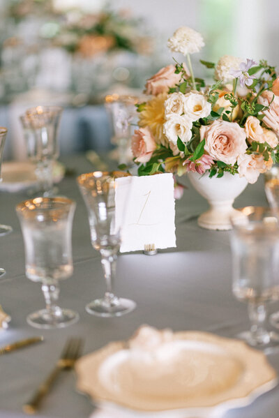 Tablescape at a wedding reception