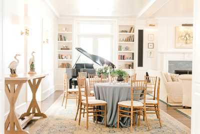 Beautiful wedding venue with bookshelves and piano