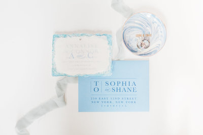 french blue vellum wedding invitation
