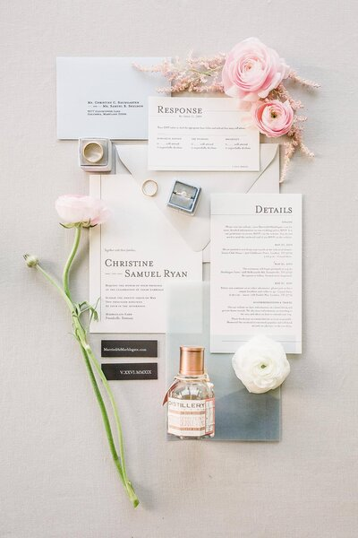invitation suite flatlay by Knoxville Wedding Photographer, Amanda May Photos