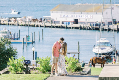 Engagement photo in Marquette Park on Mackinac Island