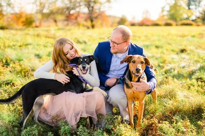 New England Area Wedding Photographers holding dogs