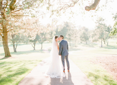 Bride and groom portrait at golf country club wedding, Walnut Creek, California