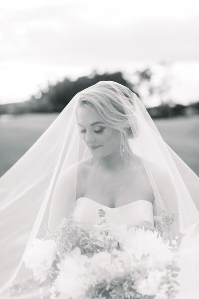bride with veil over head