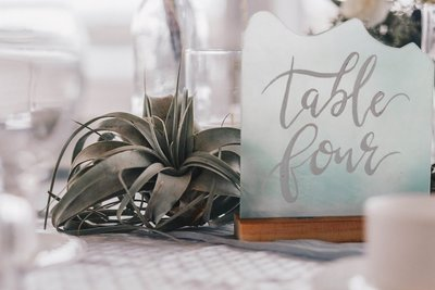 Wedding table centerpiece and table numbers