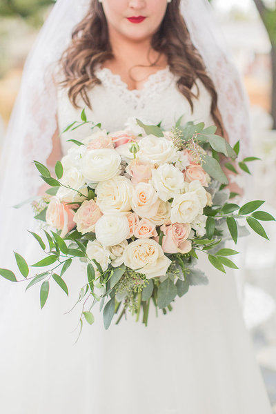 Bridal bouquet inspiration, pink and cream wedding flowers