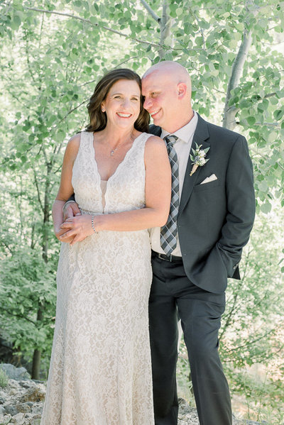 Mt Lemmon Wedding Photo of Bride and Groom by Tucson Wedding Photographer Bryan and Anh of West End Photography