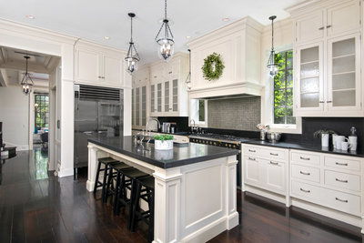 Haven Home Staging - Kitchen Spaces contrast tones blacks whites green high end space