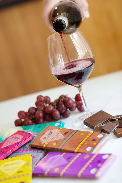chocolate wine branding photography