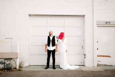 Riders Down the Aisle Wedding Stylized Shoot | Biker Offbeat Hot Pink Hair Harley – Kennewick, WA | Tin Sparrow Events + Alex Lasota Photography