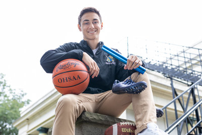 Sports senior pictures of a high school athlete in Northeast Ohio by Sharon Holy