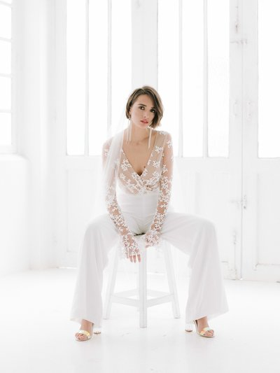 POPPY Rime Arodaky elegant bridal jumpsuit with see through Italian lace 07