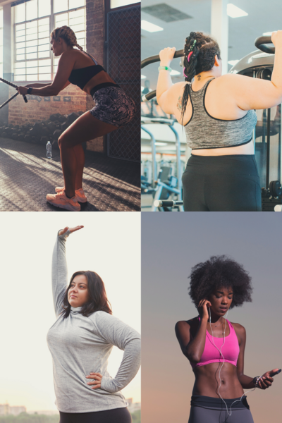 A box of 4 pictures showing women of various races and sizes working out