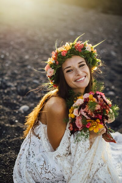 hawaii bride smiling