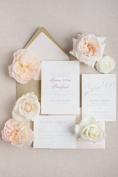 Lace Letterpress Wedding Invitations
