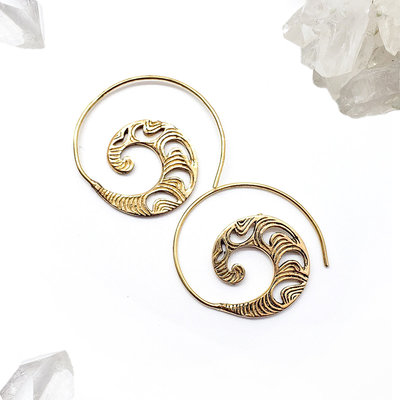 Brass Wave Spiral Hoops 3
