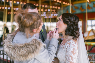 suess moments putting on lipstick on bride needing touch up