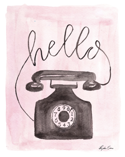 Pink and black watercolor retro rotary phone illustration
