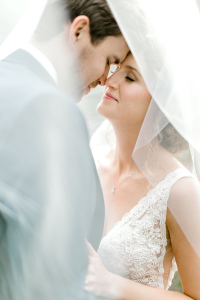 Bride and Groom Veil Photo