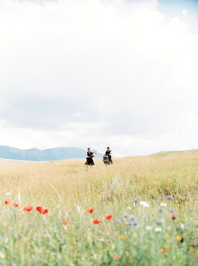 Bagpipers Playing for Montana Ranch Wedding Ceremony