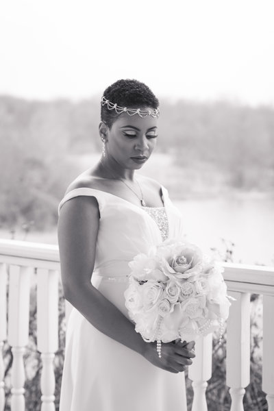 African American Bride Holding Bouquet