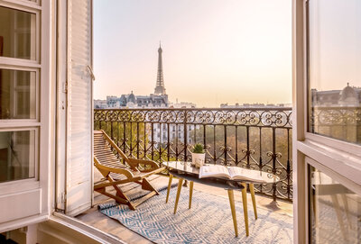 Eiffel Tower views from balcony sunrise | KC Abroad