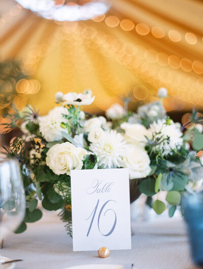 table number at inn at castle hill wedding