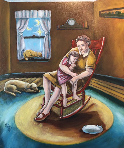 Oil painting, naïve style, of a Mother rocking her child in the earlier times of America, holding a sense of love, safety and deep, forever beauty.