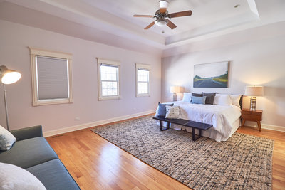 HAVEN Home Staging and Redesign -Drake Master Bedroom neutral tones whites blacks greys greens