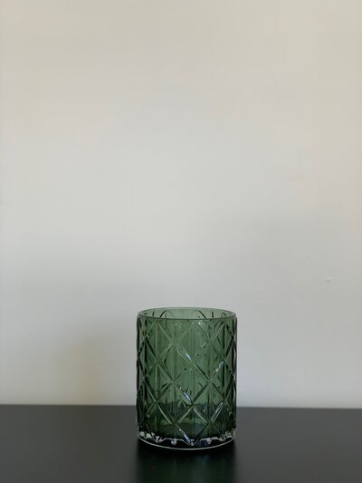 Green Etched Glass Large Candleholder