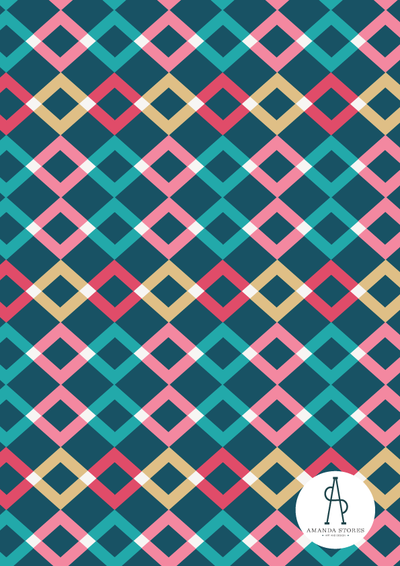 Fabric Collection Design by Amanda Stores- Geometric red and pink diamond pattern on a navy background