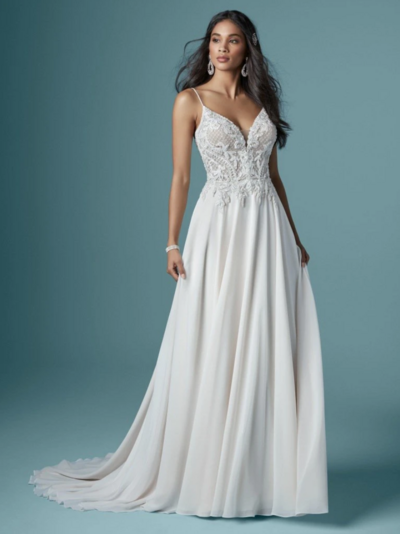 Sheath Wedding Dress. We've cracked the code for beach-chic. It involves chiffon and shimmer, á la this soft sheath wedding dress in floaty chiffon and beaded lace details.