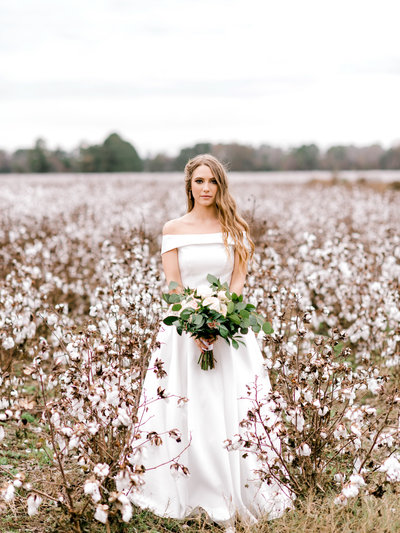 Bride in cotton field georgia