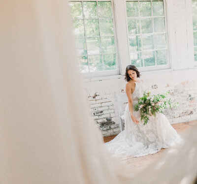 bride at lace factory