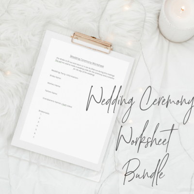 wedding ceremony worksheet bundle