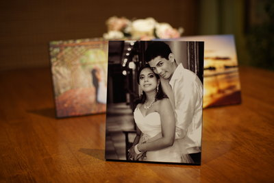 B+W wedding photo/art block on table top. By Ross Photography, Trinidad, W.I..