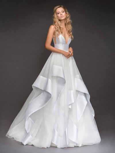 Hayley Paige bridal gown - Ivory Mikado and tulle bridal ball gown, spaghetti strap bodice with deep sweetheart neckline, ivory net side cut out, cascading banded tulle skirt. Also shown with center front neckline raised