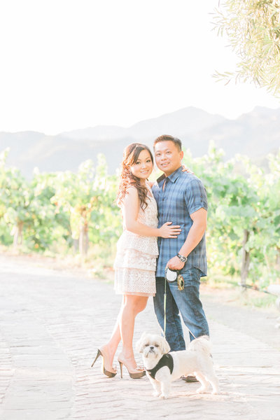 Fun engagement wine country photos of couple in Napa with their dog at Castello di Amorosa, Tuscan castle wedding venue in Calistoga, California, fine art photography by Evonne and Darren