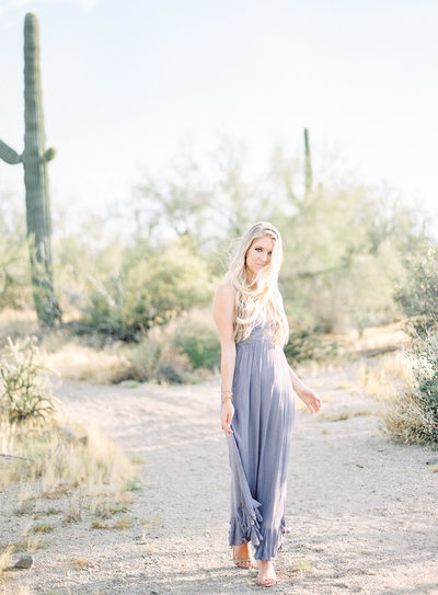 Beautiful bride to be among the cactus and desert of Phoenix Arizona Photographed by Amy Mulder Photography