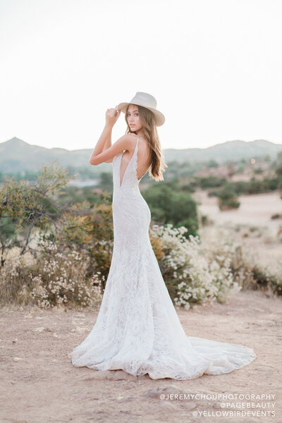Hayley Paige bridal gown - Umami embroidered fit-to-flare gown, scalloped sweetheart neckline and illusion side cut outs, ivory embroidery over cashmere lining, detachable tulle train with scattered appliqué.